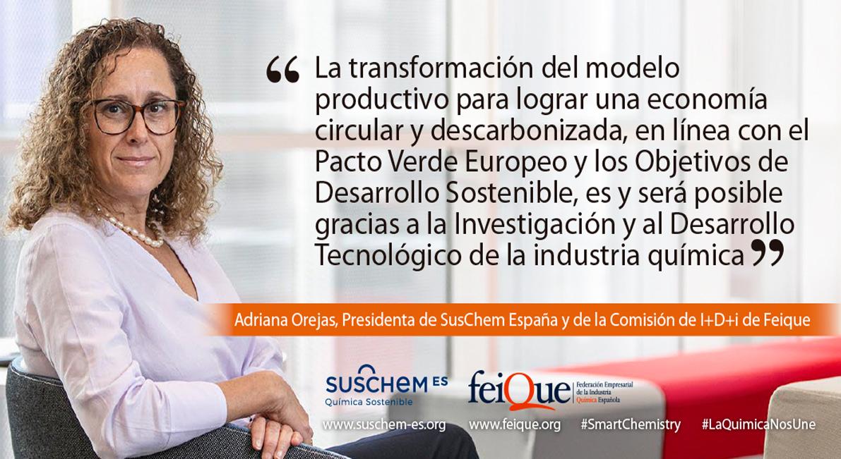 Adriana Orejas, nueva presidenta de SusChem España y de la Comisión de Innovación de Feique