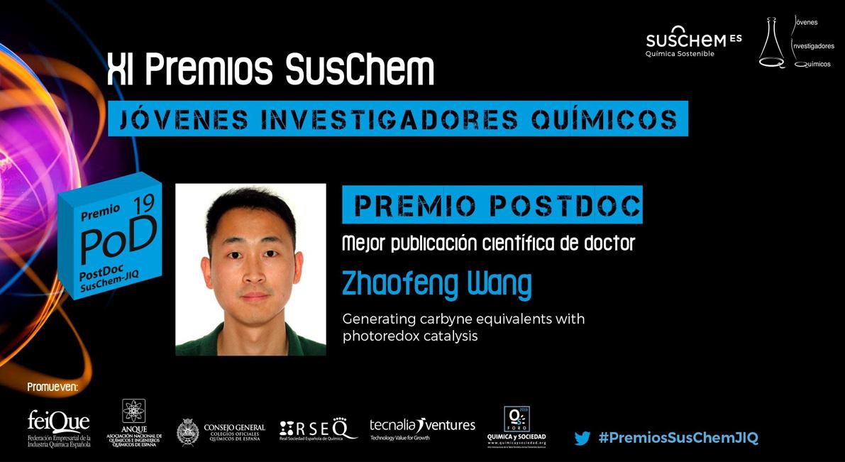 Conoce a Zhaofeng Wang. Premio SusChem-JIQ, categoría PostDoc 2019