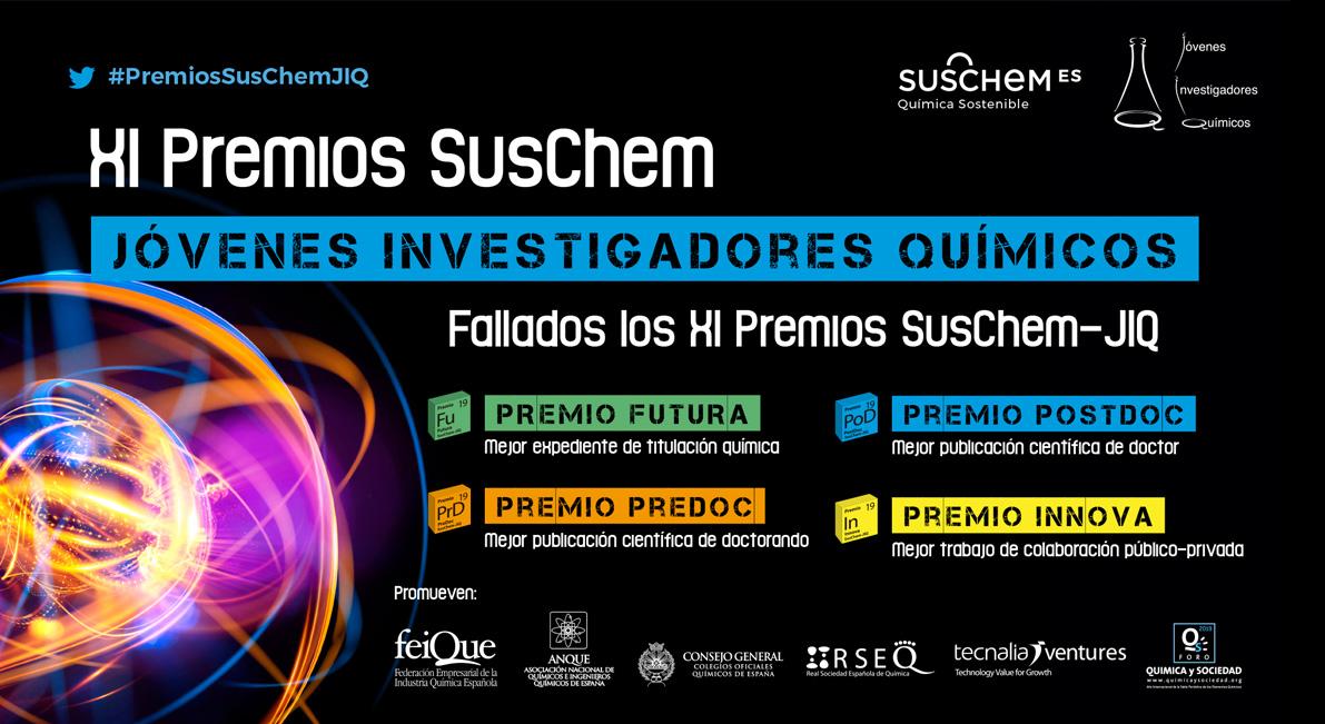 Emitido el fallo de la XI Edición de los Premios SusChem-Jóvenes Investigadores Químicos 2019