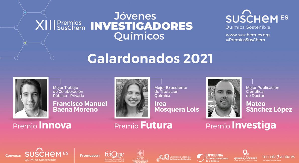 SusChem-España reconoce la labor de tres nuevos jóvenes en la XIII Edición de sus Premios SusChem - Jóvenes Investigadores Químicos