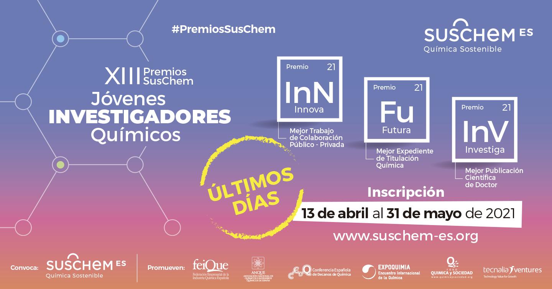 Últimos días para presentarse a la XIII Edición de los Premios SusChem, que reconocen el trabajo de los jóvenes investigadores químicos